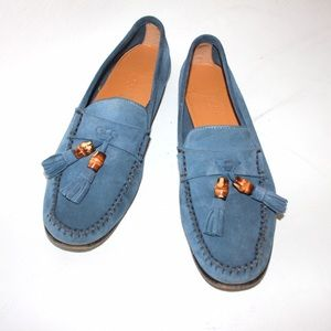 Gucci Shoes - Gucci Blue Suede Bamboo Tassel Driving Moccasin